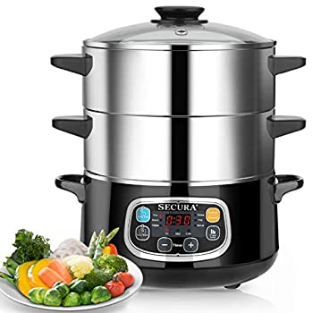 Secura Electric Food Steamer Vegetable Double Tiered Stackable Baskets with Timer 1200W Fast Heating Stainless Steel Digital Steamer 8.5 Quart