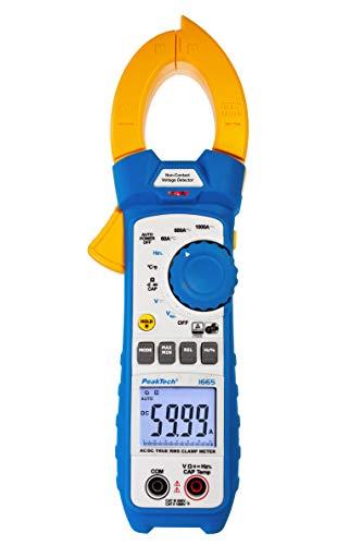 PeakTech 1665 – Pinza amperimétrica RMS 1000A AC/DC lámpara LED, 6000 cuentas, multímetro digital, TUV/GS, pinza de corriente, medidor de voltaje, amperímetro, probador de continuidad - Máx 600 V