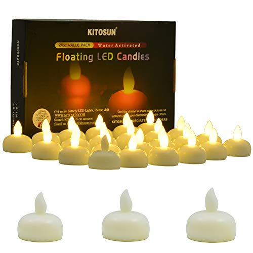 KITOSUN Floating Candles Waterproof Flameless Flickering LED Tea Lights Water Activated Battery Operated Led Candles Warm White for Proposal Wedding Bar Party Centerpiece Pool & SPA