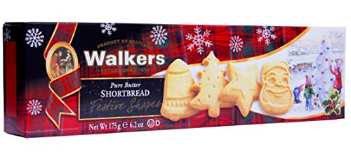 Walkers Shortbread Festive Shapes Shortbread Holiday Cookies, 6.2 Ounce Box (Pack of 4)