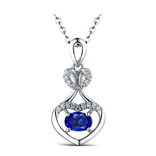 ANAZOZ Echtschmuck Halskette Damen 18K 750 Weißgold Zwei Hohl Herz Oval 3.33Ct Saphir Blau Halskette mit Anhänger mit Diamant Geschenke für Frauen