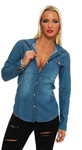 Fashion4Young 11051 Langarm Damen Jeans Bluse Hemdbluse Damenbluse Jeanshemd Jeansbluse (M=38, blau)