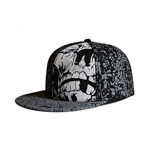 Hip Hop Skull Cap Whole Close Mujeres Ocio para Hombres Ocio Plana Brim Bill Hip Hop Gorra de béisbol Ajustada Snapback Hat (Color : Graffiti, Size : 56CM)