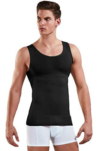 Doreanse Herren Shapewear Unterhemd | Figurformende Bauch Weg Shirt für Männer aus 85{4e9b8ef9e2c4469625262d2450c2497a6b660480dd3afea2cbd7a1bad059ad3e} Baumwolle| Body Shape Tank Top Unterhemden in weiß, schwarz o. Skin (Schwarz, XL)