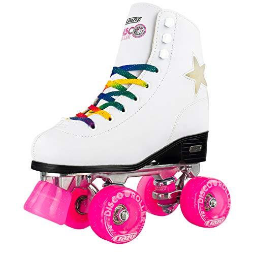Crazy Skates Disco Rollschuhe, Quad Skates mit LED-Beleuchtung, blinkende Sterne und Regenbogen-Schnürsenkel Ladies Size 2 weiß