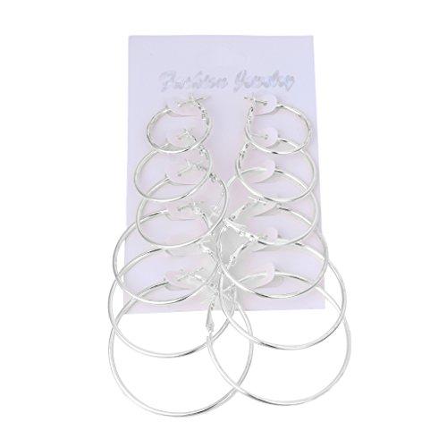 Dairyshop Ohrring, 6Pairs / Set Weinlese baumeln Ring großer Kreis Band Ohrring Frauen Steampunk Ohr Klipp, Legierung (Silber)