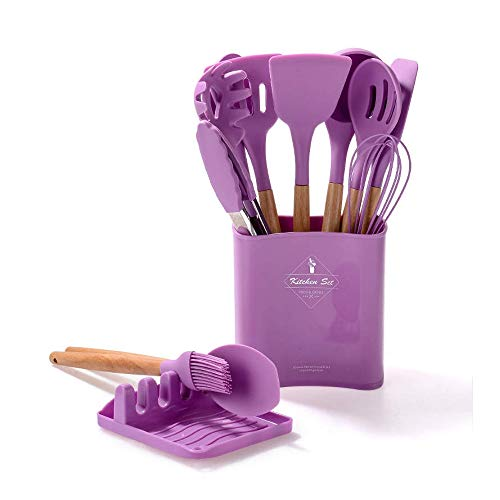 Wooden Handle Kitchen Gadgets Set of 12 PCS Silicone Kitchen Utensils with Rest (Purple)