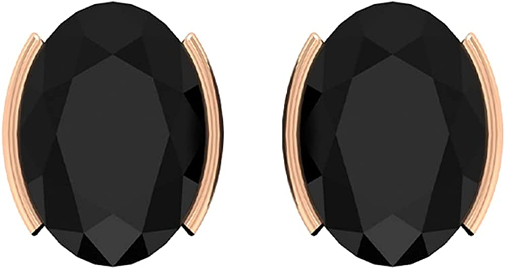 5X7 MM Oval Cut Black Spinel Stud Earrings (AAA Quality),14K Rose Gold,Black Spinel
