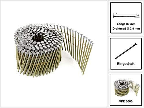 9000 Coilnägel 16° drahtgebunden 2,5x55mm verzinkt gerillt geharzt zertifiziert