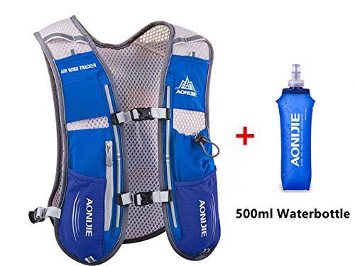 Win.Deeper Profesional Hombre Mujer 5L Chaleco de Hidratación Ligero Superior Mochila para Trail Running Ciclismo (Azul con 500ML Botellas de Agua Blandas)