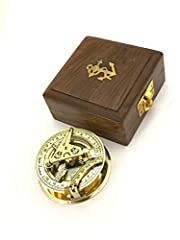 Solid Brass Sundial and Compass in Hardwood BOX - Pocket sundial compass Size: 6cm diameter X 2cm (Compass); 10cm X 10cm X 4.5cm (BOX) Made of Solid Brass: In working oder can be use for basic observation with Rose Wood Case (new design hard wood box...