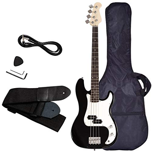 Electric Bass Guitar, Safeplus Starters Acoustic Guitar Full Size 4 String Package with Guitar Bag, Strap, Guitar pick, Amp cord (Black)