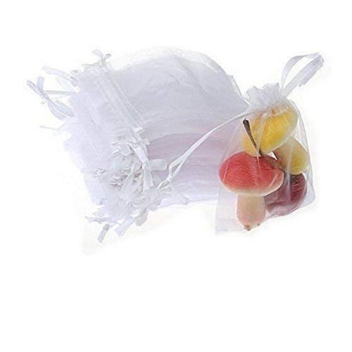 JZK 50 x Bolsas organza de regalo blanco 9 x 7cm para boda arroz confeti regalo joyas caramelos cumpleaños baby shower