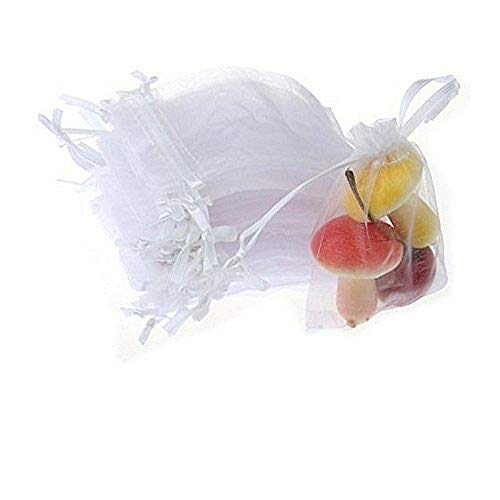 JZK 50 x Bianco 7x9cm Sacchetti Coulisse Organza portaconfetti sacchettini portariso bomboniere per Matrimonio Compleanno Battesimo