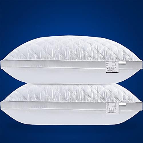 DUYH Almohada Estereoscópica de Algodón de 2 Piezas, Almohada de Algodón Lavable de Alta Gama. 48 × 74 cm, Blanco. (Bajo 900g)