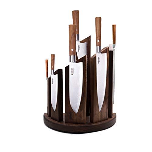 JIY-Unbestückte Messerblöcke Küche hochwertigem Holz nussbaum Magnet Messer Halter frei lochen Magnet Stein Messer Halter lagerung Messer Halter magnetische adsorption (Farbe : B)