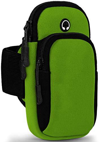 ONEFLOW Premium Sportarmband Handy Armband zum Joggen für Samsung Galaxy J4+ | Lauftasche Smartphone Armtasche weich, 2 Fächer - Sport Handyhalterung Arm, Grün