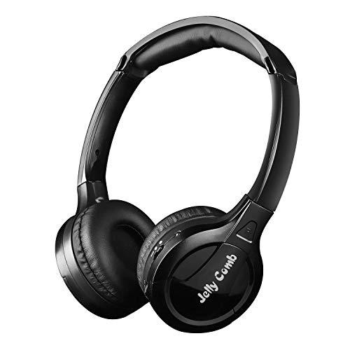 Jelly Comb Funkkopfhörer, Kabelloser Optischer Wiederaufladbarer On-Ear-Headset für TV, Fernseher, PC und andere Hi-Fi Multimedia-Geräte, Schwarz