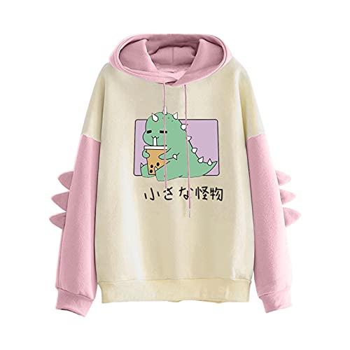 Pianshanzi Sudadera con capucha para mujer con diseño de dinosaurio y patchwork, con cordón y estampado de dinosaurios, manga larga, informal, chándal, B Rosa, S