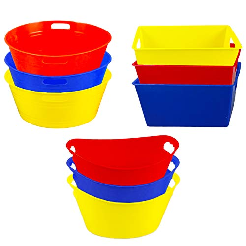 Mini Party Bowls for Snacks Condiments Candy Desserts Party Supplies ~ Pack of 9 Mini Tubs Candy Dishes, Assorted Colors and Styles