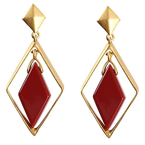 CHXISHOP 925 Pendientes de Plata esterlina Pendientes de joyería Chapado en Oro Diamante Pendientes Rojos Largos Pendientes de ágata, Pendientes de Gota para Mujeres