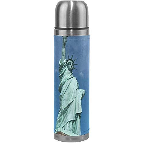 Estatua de la libertad Monumento nacional Ciclismo Aislamiento al vacío Frasco de termo para mujer Botellas de agua de acero inoxidable + Copa de bebida + Cubierta de cuero Se adapta a 500 ml