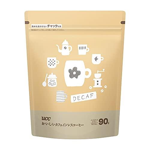 UCC おいしいカフェインレスコーヒー袋 90g (EC限定) デカフェ・ノンカフェイン インスタント