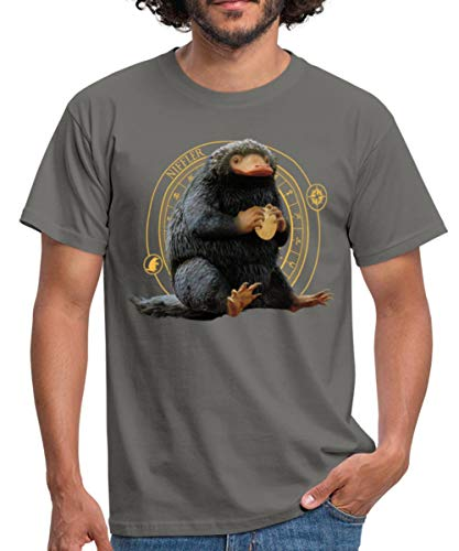 Spreadshirt Fantastic Beasts Niffler with Coin Men's T-Shirt, 4XL, Graphite Grey