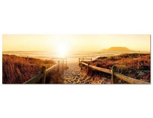 PANORAMA BILD 150x50cm (Strand Steg Meer Nordseestrand) Wandbilder Bilder EXKLUSIVES Fotowandbild auf Leinwand und Keilrahmen Bild Leinwandbild Fotodruck modern Zeitlos Stilvoll wie ein Gemälde