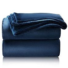 Bedsure Manta Sofa Grande Invierno - Manta Cama 90 de Franela Extra Suave, Mantas 150x200 cm Cubre Sofas, Azul Marino