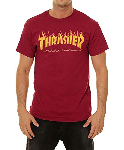 THRASHER, T-shirt flame logo, Cardinal red - S