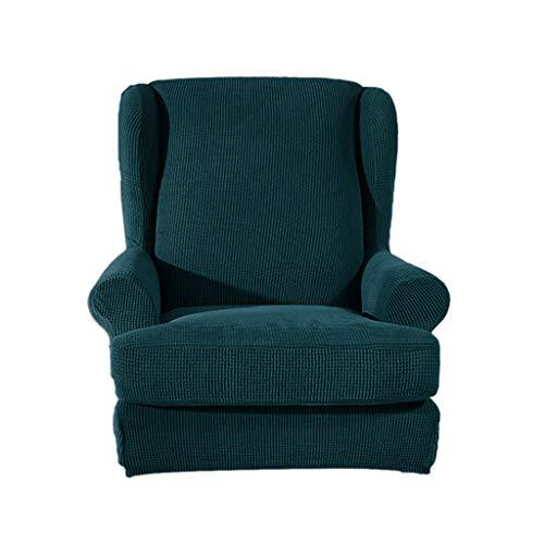 Fenteer Elastischer Ohrensesselbezug Sesselhusse Sesselbezug Stretch Überzug Bezug Husse für Ohrensessel - Dunkelgrün