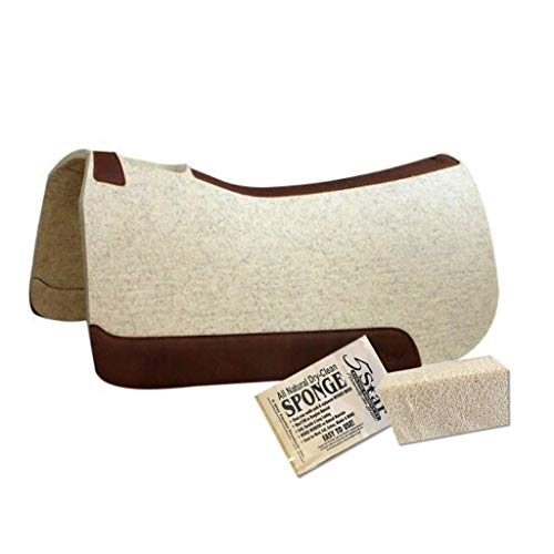 5 Star Horse Saddle Pad - 1  Thick Western Contoured Natural Pad - The Performer Full Skirt 32  X 32  Free Sponge Saddle Pad Cleaner Included