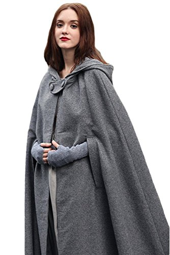 RedJade Umhang Damen mit Kapuze Cape Mantel Poncho Damen Winter Cape Outwear Grau XL