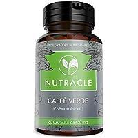 NUTRACLE - 80 cápsulas de Café Verde de 450 mg   Quema de grasa, adelgazante, reactiva el metabolismo   Alta concentración de ácido clorogénico