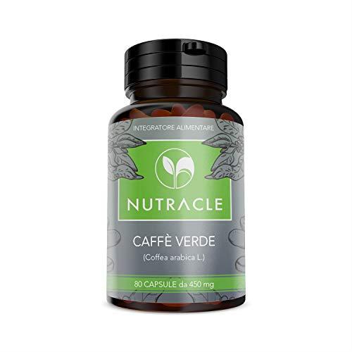 NUTRACLE - 80 grüner Kaffee Kapseln 450 mg Fettverbrennung, Abnehmen, reaktiviert den Stoffwechsel - Hohe Konzentration von Chlorogensäure
