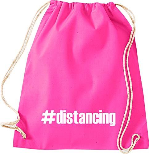 Shirtstown - Bolsa de deporte para el gimnasio, distancing Hashtag Distanzation, la crisis, la cohesión, juntos, situaciones de emergencia, social, agradecimiento, gracias, bolsa de deporte, color rosa, tamaño 37 cm x 46 cm