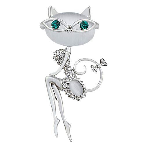 RelaxLife Broches de ópalo broche gato con gafas de sol mujer sexy lindo gato pin y broche accesorios de boda