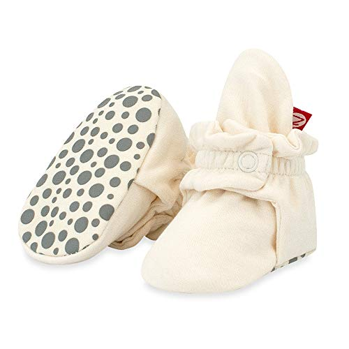 Zutano Cotton Baby Booties with Gripper Soles, Soft Sole Stay-On Baby Shoes, Cream, 12M
