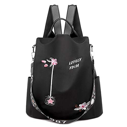 Female Anti-Theft Backpack Waterproof Oxford Women Backpack Fashion Women Travel Bag Brand Ladies Large Capacity Backpack (Color : Style D Black)