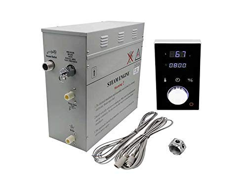 Superior Steam Shower Generator DeLuxe | Self Draining Steam Shower Kit | 6kW Touch Control in Black | Aromatherapy Steam Head | Programmable temperature & time DeLuxe control for Perfect Steam