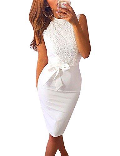 Yieune Sommerkleid Damen Spitze Abendkleid Mini Etuikleid Elegant Weiß Partykleid Knielang Kleider Strandkleid (Weiß M)