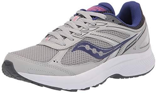 Saucony Women's Cohesion 14 Running Shoe, Grey/Purple, 9