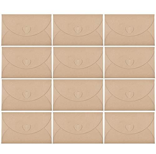 Voarge 25 pezzi Busta di carta Kraft, Retro creativo Busta carina a forma di cuore, Busta della...