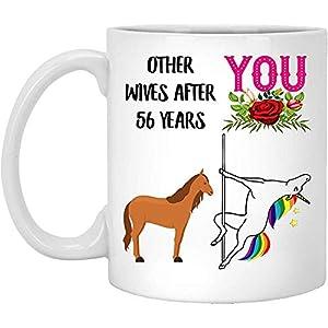 Lovesout Regalos de boda de 56 años para ella 56 años Celebración Regalo para esposa de esposo Divertido sueño Horse Pole Dance Taza de café para mujeres 11oz