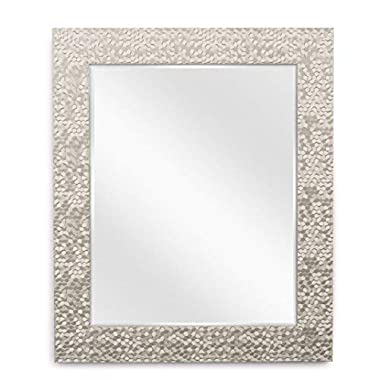 Wall Beveled Mirror Framed - Soft Brass Bedroom or Bathroom Rectangular Frame Hangs Horizontal and Vertical by EcoHome (27x33)