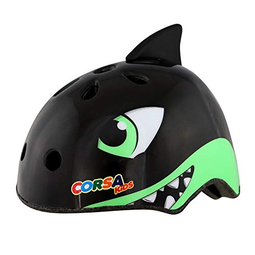 WEZER OTY Children's Cranky Cycle Safety Helmet Bike Helmet for Kids 3-15 Years, Cycling Helmet for Cycling, Skating Scooter,D. Black shark,S