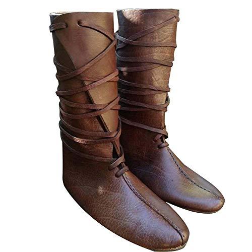 Guiran Herren Mittelalter Schuhe Stiefel Piratenstiefel Für Halloween Und Motto-Partys Braun 46CM