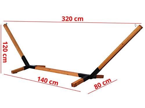 Megaastore Hängemattengestell aus Buchenholz bis zu 150kg | Gestell für Doppel-Hängematten | Breit: 320cm