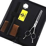 ZLININ Y-longhair Japón 440c tijeras de peluquería de 15,24 cm plata doble cola adelgazamiento tijeras peine set de peluquería tijeras (juego)